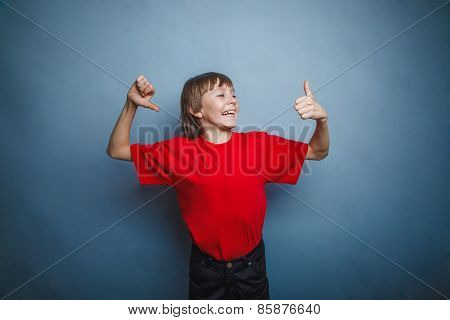 boy, teenager, twelve years old, in a red t-shirt