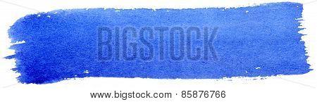 Blue Stroke Of Gouache Paint Brush