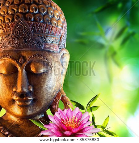 oriental background with buddha, lily and bamboo