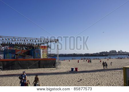 The Beach Of Santa Cruz In California,