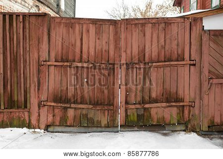 Old Wooden Gate Red
