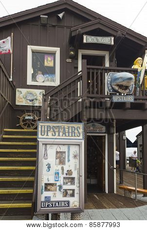 Wooden Shop In Stearns Wharf, Santa Barbara