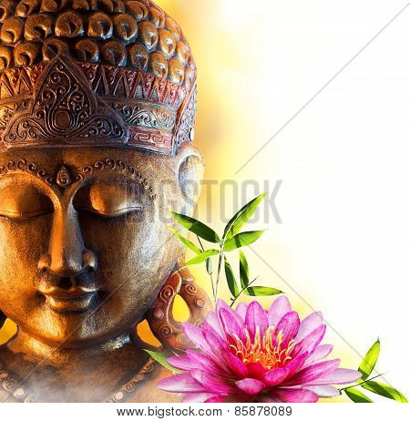 Statue buddha zen with water lily and bamboo