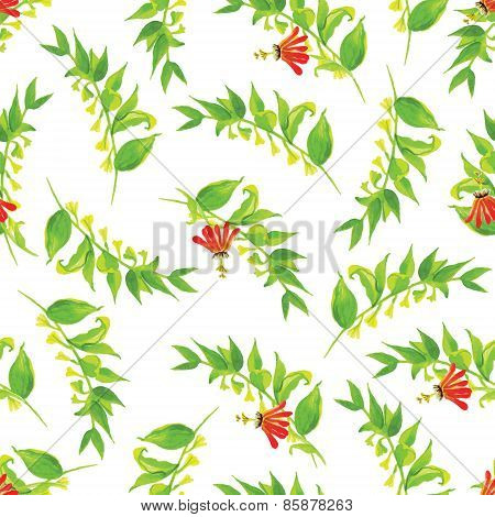 Exotic Poppy Watercolor Seamless Vector Print