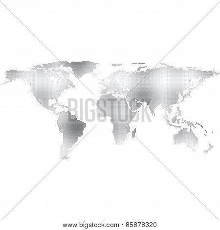 Dots Grey World Map vector Illustration