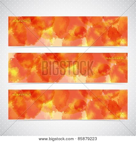 Colorful Horizontal Set with watercolor paint . Modern Vector Illustration