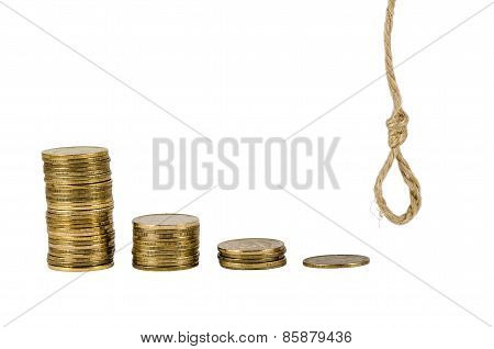 Bars of coins and knoted rope isolated on white