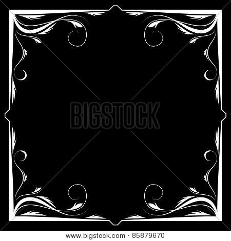 Vector Floral White Frame On A Black Background