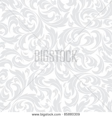 Texture wallpapers in the style of Baroque . Seamless background of gray and white color . Can be us