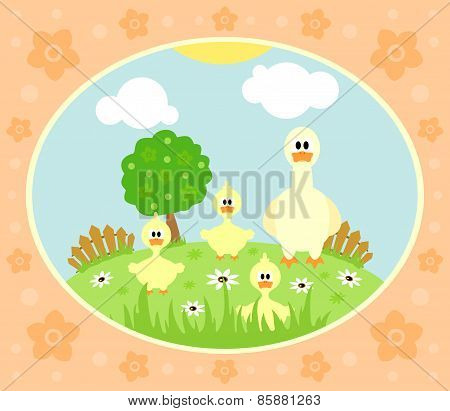 Farm background with goose