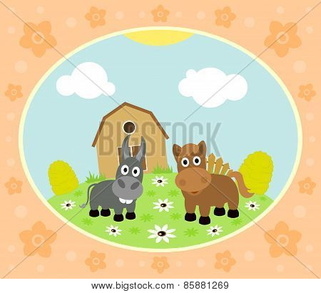 Farm background with horse and donkey