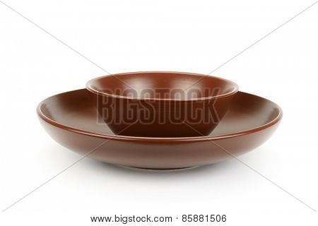 Ceramic plates isolated on a white background