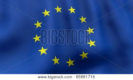 3D rendered waving European Union flag
