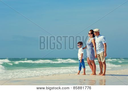 Happy beautiful family on Florida holiday vacation