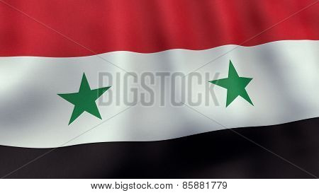 3D rendered waving Syrian flag