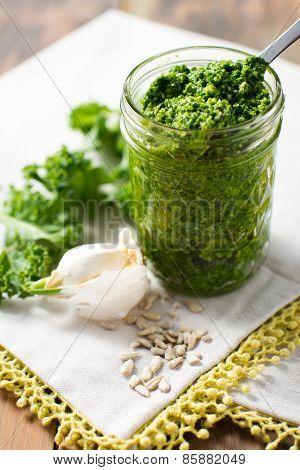 Kale Pesto Sauce On White Tasting Spoon