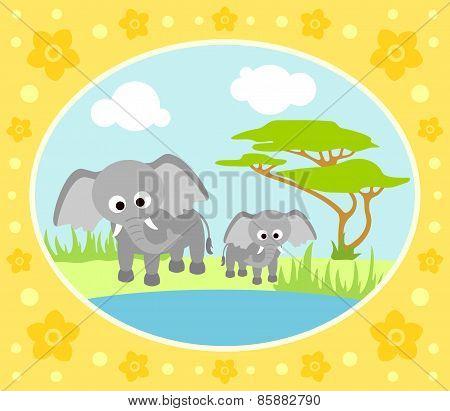 Safari background with elephants