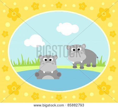 Safari background with hippopotamus