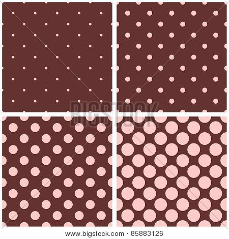 Tile vector pattern set with pink polka dots on brown background