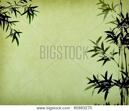 bamboo on old grunge antique paper textured
