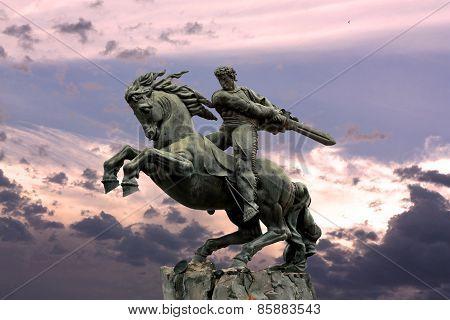 Yerevan (Armenia), monument David Of Sasun who is  hero of the Armenian Epos