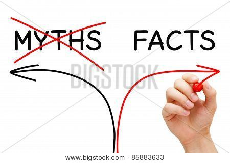 Myths Facts Arrows Concept