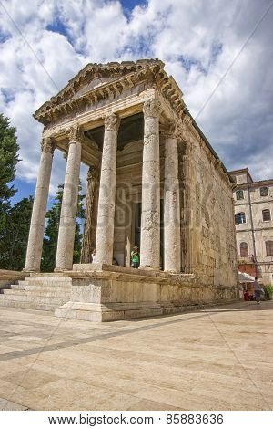 Antique August Temple At Forum In Pula