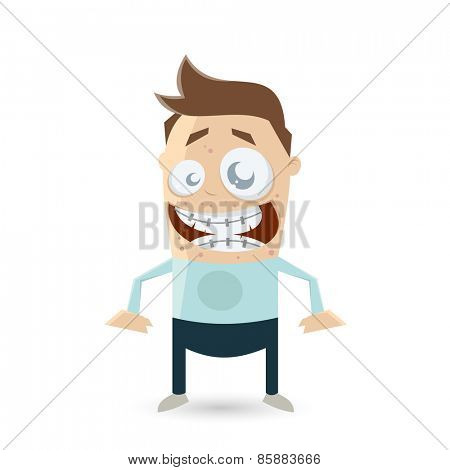 funny cartoon teenager with acne and braces