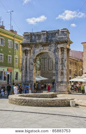 Triumphal Arch Of Antique Era In Pula