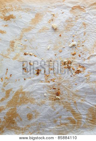 Used baking paper with bread crumbs