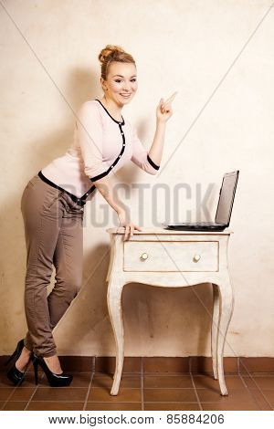 Businesswoman Working On Computer Laptop