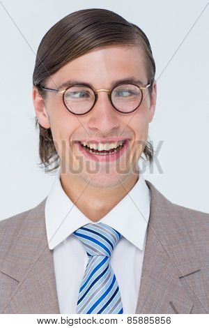 Funny geeky businessman on white background