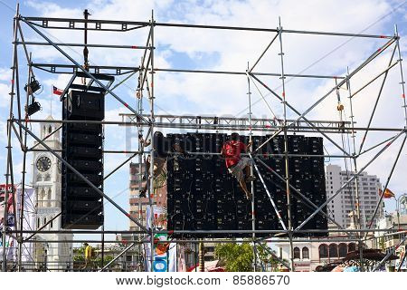 Back of Screen for Music Festival in Iquique, Chile