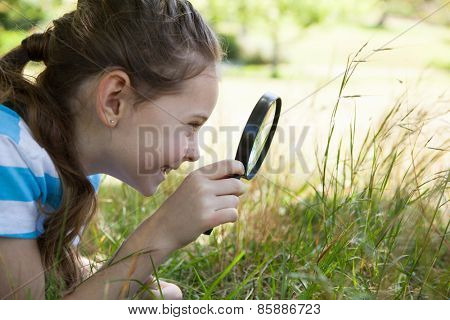 Cute little girl looking through magnifying glass on a sunny day