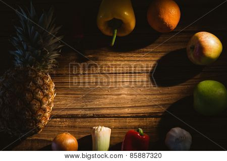 Fruit and veg laid out on table shot in studio