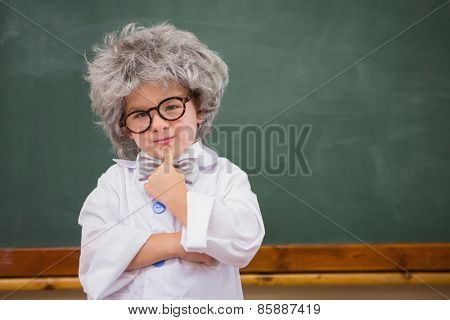 Pupil wearing peruke and eyeglasses at elementary school