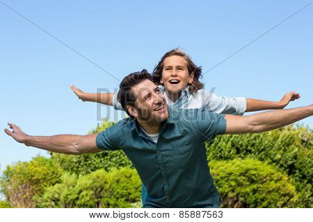 Father and son having fun in the countryside