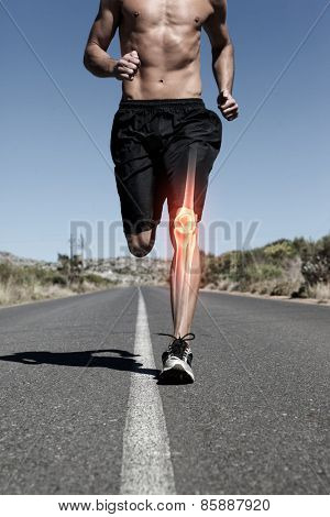 Digital composite of Highlighted knee bone of running man