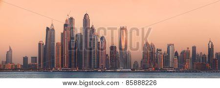 The beauty panorama of Dubai marina. UAE