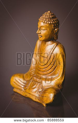 Wooden buddha statue shot in studio