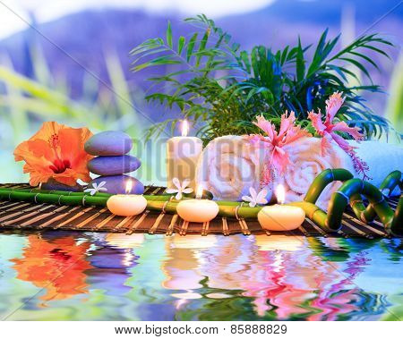 spa bath treatment in nature for aromatherapy and relaxation