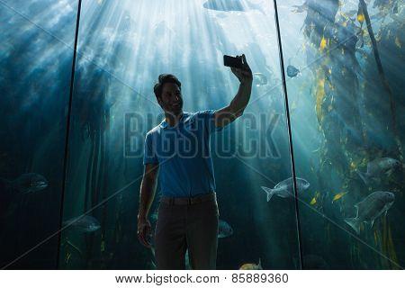 Man looking at fish tank at the aquarium