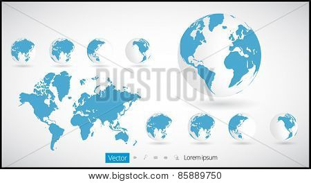 World map infographic with Globe icons