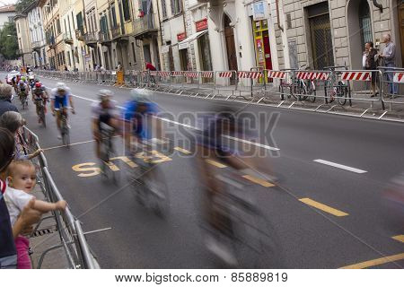 Group of cyclists in movement