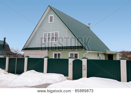 New Country House With Mansard And Green Roof