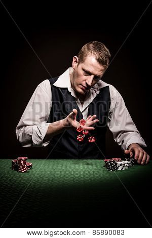 Gambler Rolls The Dice