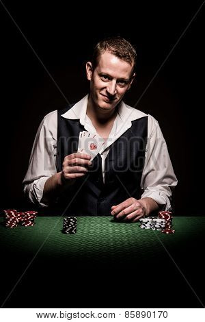 Gambler Shows Four Aces
