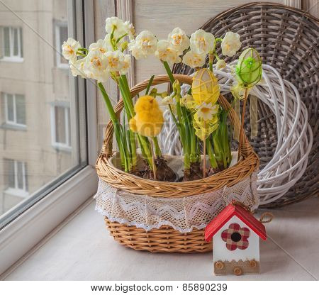 Basket With Daffodils Decorated Easter Decor