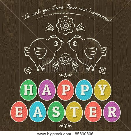 Greetings Card For Easter Day With Eleven Colored Eggs,vector