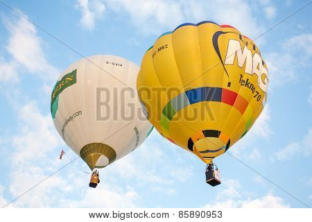 CHIANG MAI, THAILAND - DECEMBER 6, 2014: Hot air balloons in the sky during Thailand International Balloon Festival in Chiang Mai on December 6, 2014 in Chiang Mai, Thailand